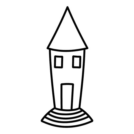 happy halloween celebration scary castle cartoon vector illustration line style