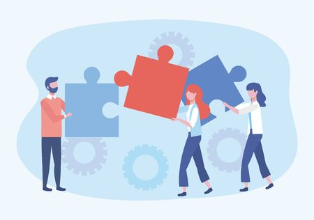 businessman and businesswomen with puzzles and gears connection Stock Illustratie