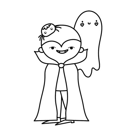 happy halloween celebration boy dracula costume ghost and spider line style