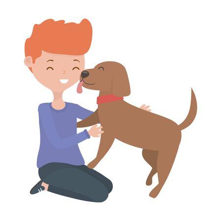 Boy with dog cartoon design Standard-Bild - 133362953