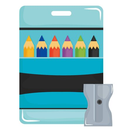 set of pencils colors in box and sharpener vector illustration design