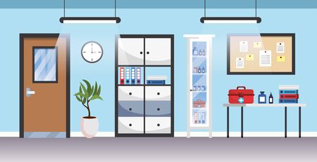 professional hospital room with first aid medicine Illustration