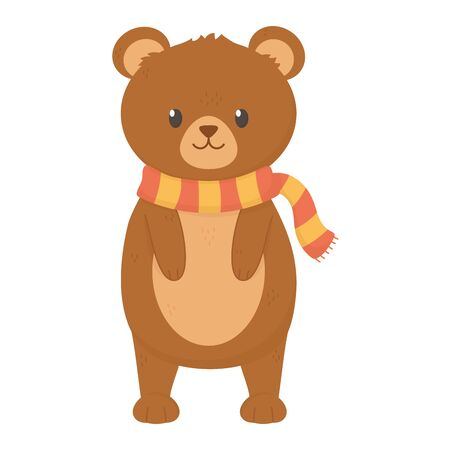 cute bear standing with scarf autumn on white background vector illustration