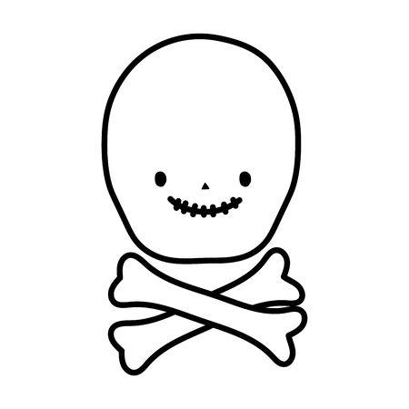 happy halloween celebration skull bones cartoon vector illustration line style