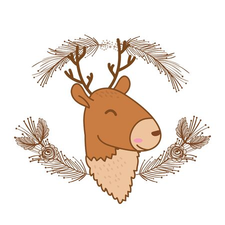 cute little animal deer face flowers frame cartoon vector illustration graphic design Foto de archivo - 133362981