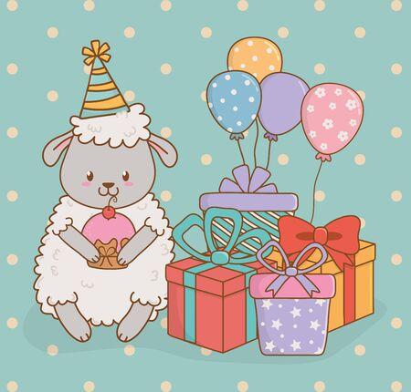 birthday card with cute sheep woodland