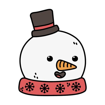 snowman with black hat and carrot nose decoration merry christmas Ilustracja