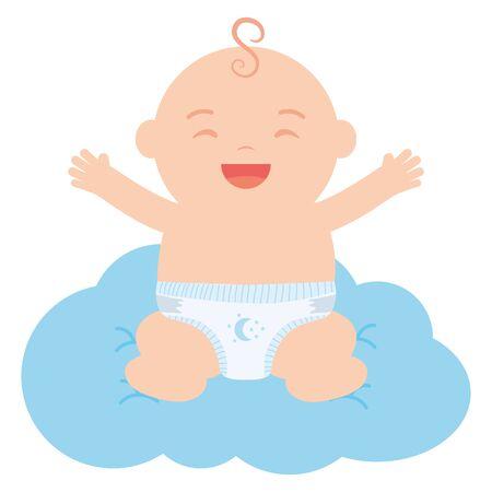 cute little baby boy floating in cloud vector illustration design Vektorové ilustrace