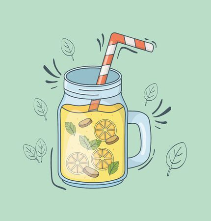 orange juice jar with straw Illustration