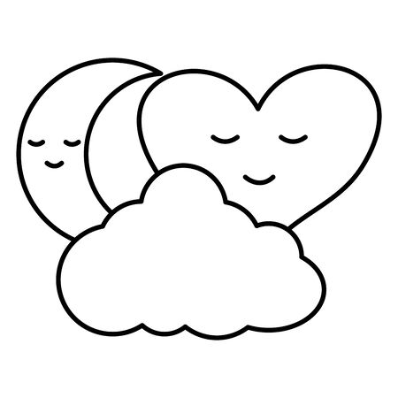 heart love kawaii with cloud and moon Standard-Bild - 133164686