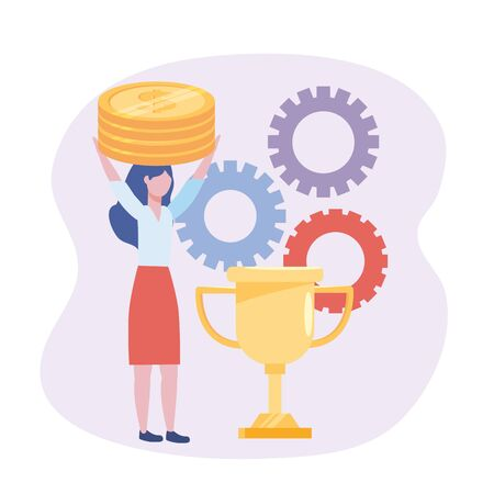 businesswoman with coins and cup prize with gears
