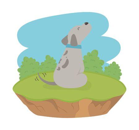 cute little dog mascot in the field character Foto de archivo - 133363010
