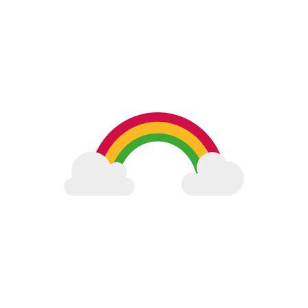 Decoration and fairytale rainbow flat vector design Ilustração