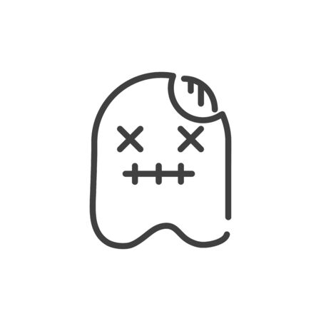 scary ghost trick or treat happy halloween line style 일러스트