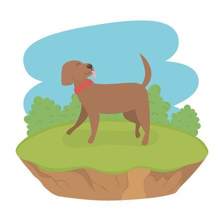 cute little dog mascot in the field character Foto de archivo - 133489863