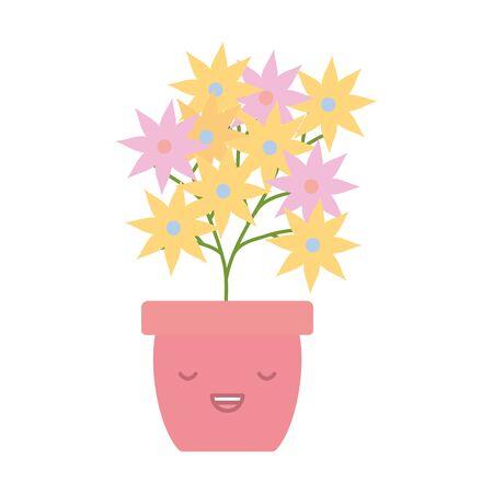 garden flowers plant in pot kawaii character 일러스트