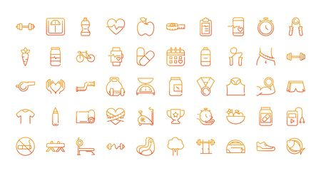 sport gym fitness icons set gradient line