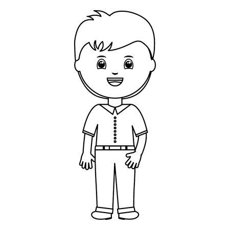 cute little student boy character Illusztráció