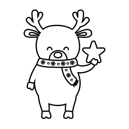 reindeer with scarf holding star decoration merry christmas line style
