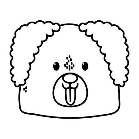 cute dog head tongue out on white background thick line Ilustração