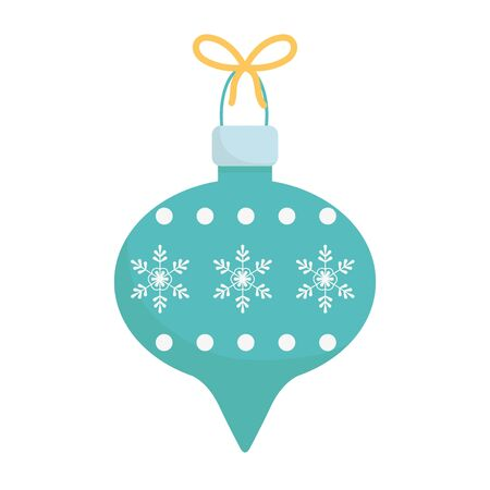 ball with ribbon and snowflake celebration merry christmas