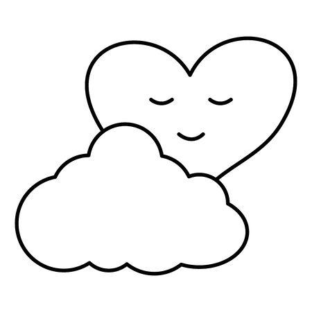heart love with cloud Ilustração