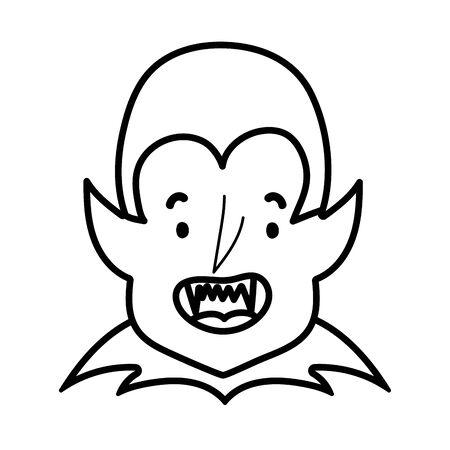 happy halloween celebration boy dracula with teeth costume line style