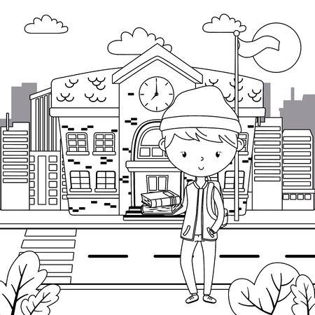 Teenager boy cartoon design vector illustration