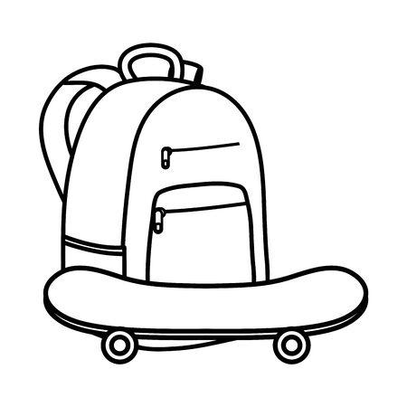skateboard sport with schoolbag icons Stock fotó - 133489160