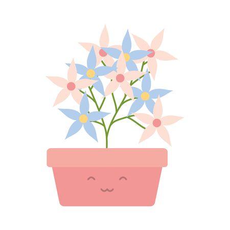 garden flowers plant in square pot character Ilustração
