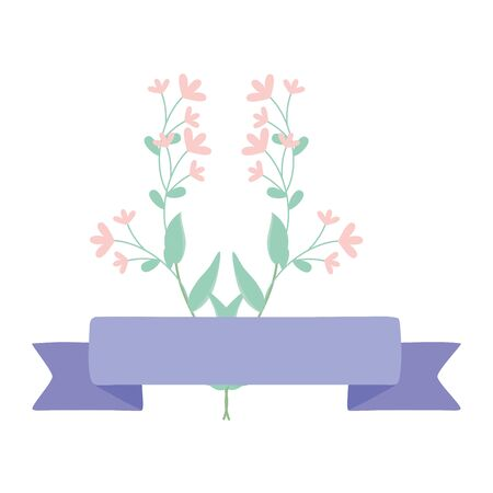 Isolated flowers with purple design