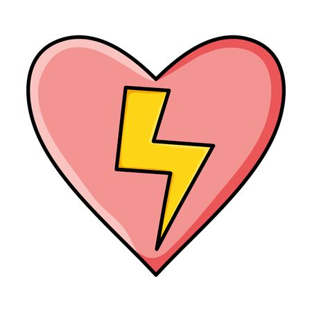 heart love with power ray pop art style