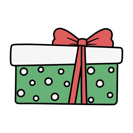 wrapped gift box red ribbon decoration merry christmas Ilustração