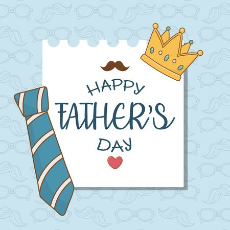 happy fathers day card with neck tie 일러스트