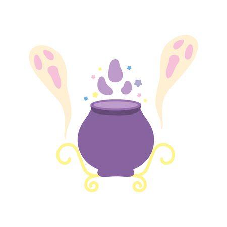 happy halloween celebration potion cauldron creepy ghosts 일러스트