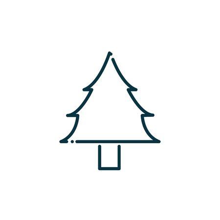 pine tree happy christmas line icon Ilustração