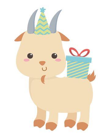 Goat cartoon with happy birthday icon design