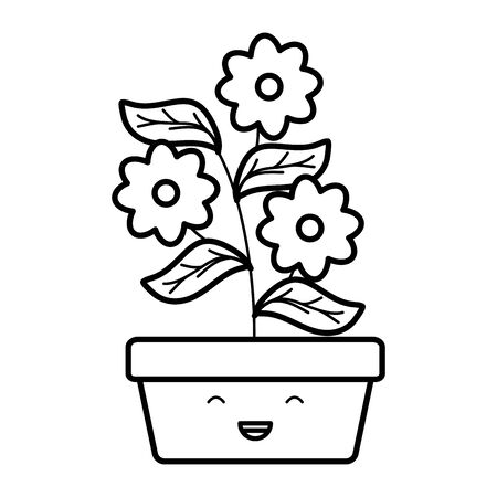 garden flowers and leafs in square pot character Ilustração