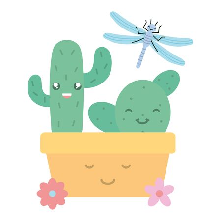 cactus in ceramic pot and dragon fly style