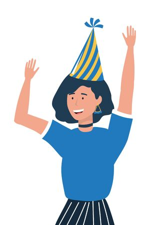 Woman cartoon with party hat design