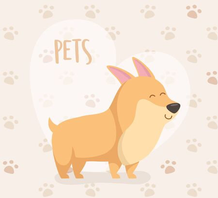 dog mascot character with heart and paw prints background Foto de archivo - 133489146