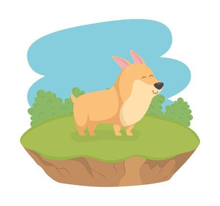 cute little dog mascot in the field character Foto de archivo - 133489149
