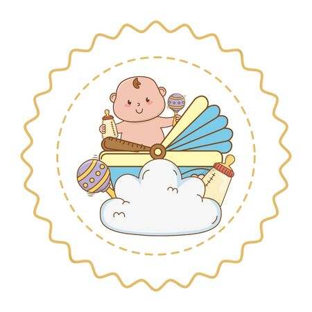 Baby shower round label stamp with cartoons