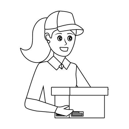 delivery service worker woman cartoon Illusztráció