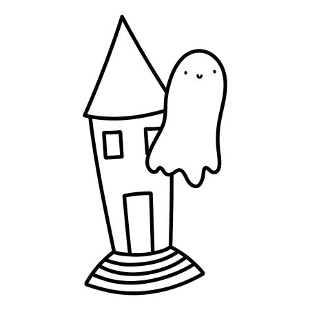 happy halloween celebration flying ghost and castle line style