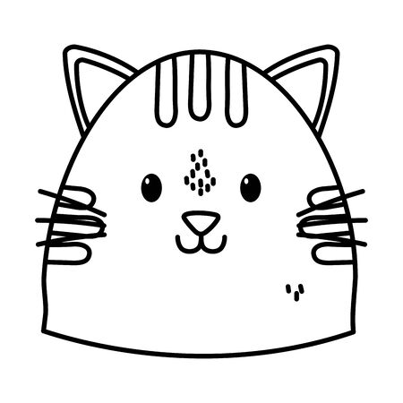 cute cat face cartoon icon thick line Stock fotó - 133489031