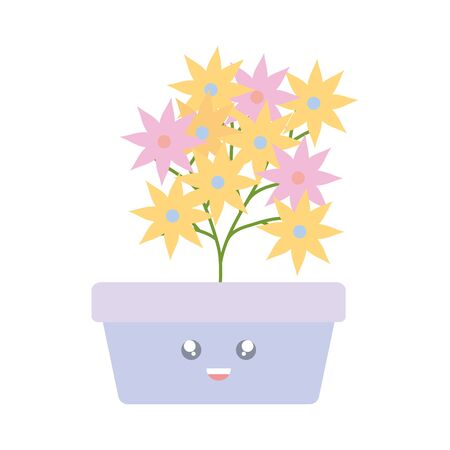 garden flowers plant in square pot kawaii character 일러스트