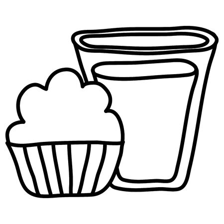 sweet cupcake pastry bakery and milk glass vector illustration design Illustration