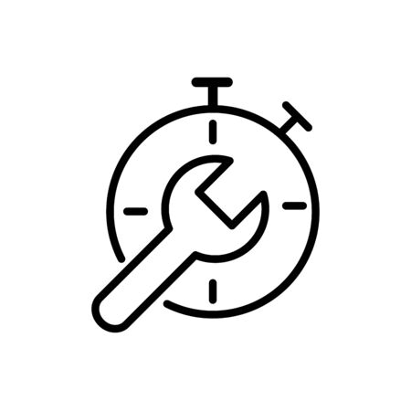 stopwatch support tool delivery icon vector illustration thick line