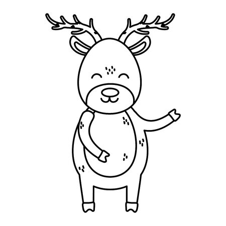 reindeer big horns thick line Stock Illustratie